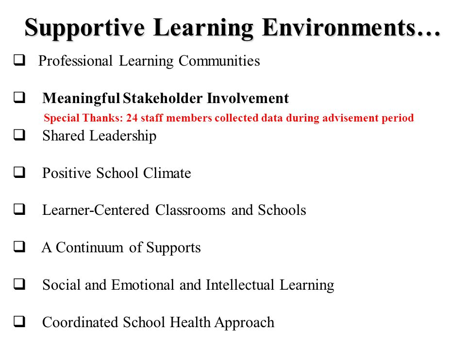 Supportive Learning Environments…