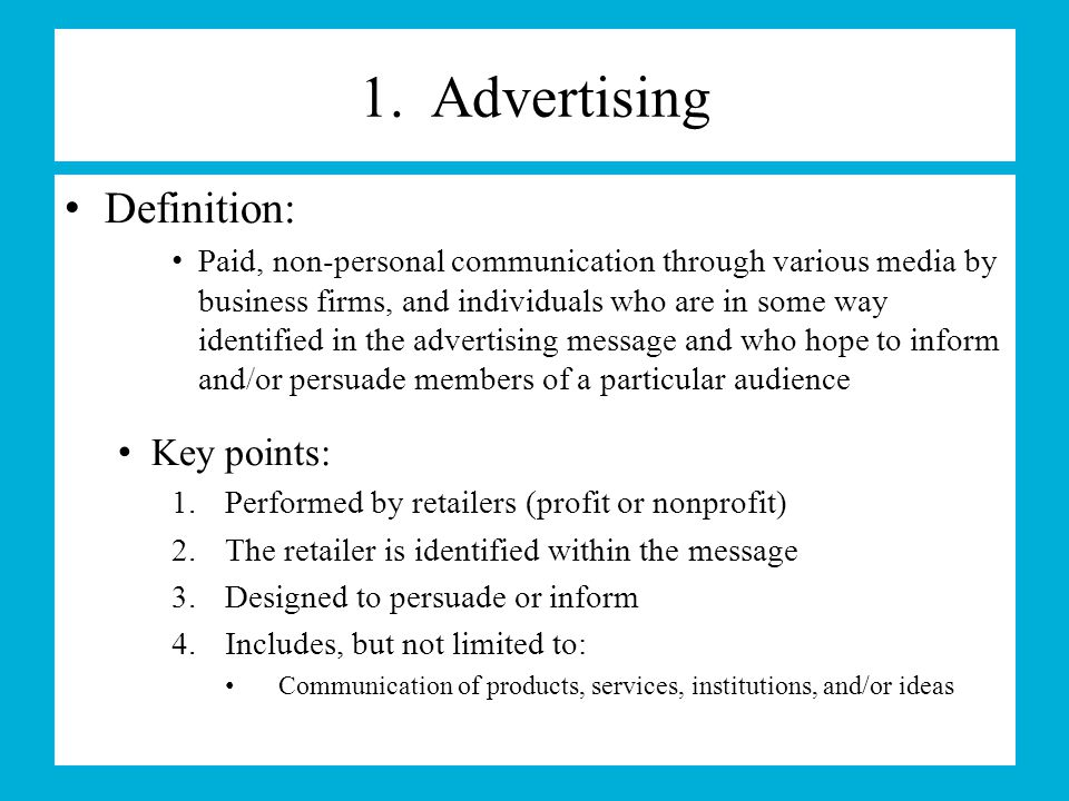 key points in advertisement In-store advertising is any advertisement placed in a  leverage points aim to move the consumer from understanding a  the key to advertising analysis is the.