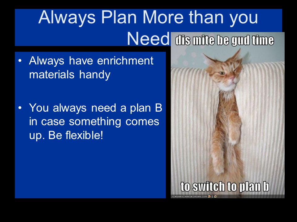 Always Plan More than you Need