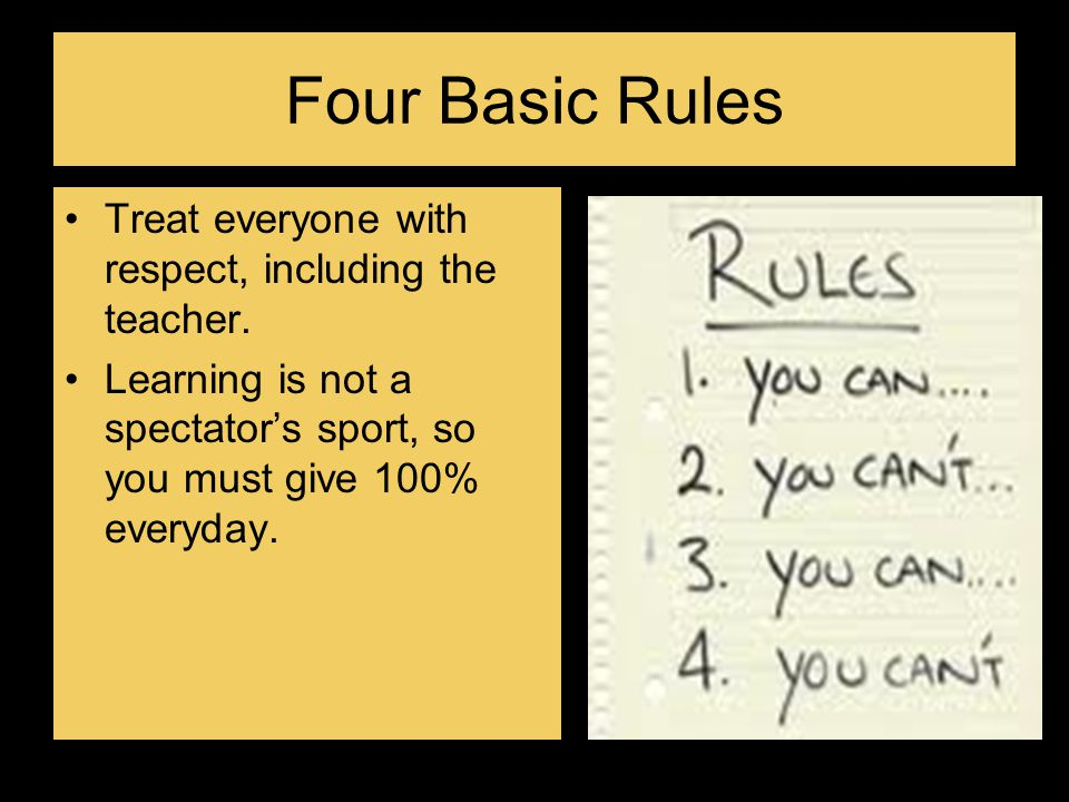 Four Basic Rules Treat everyone with respect, including the teacher.
