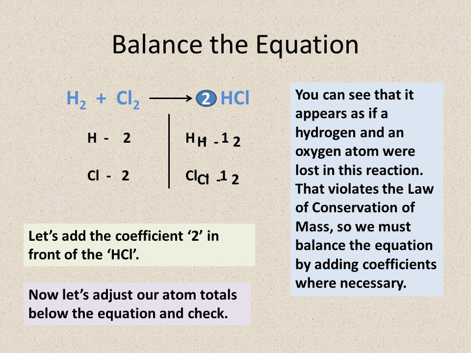 Balance the Equation H2 + Cl2 HCl 2