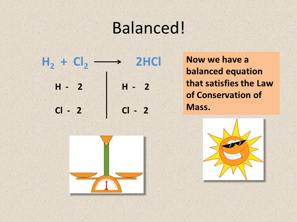 Balanced! H2 + Cl2 2HCl. Now we have a balanced equation that satisfies the Law of Conservation of Mass.