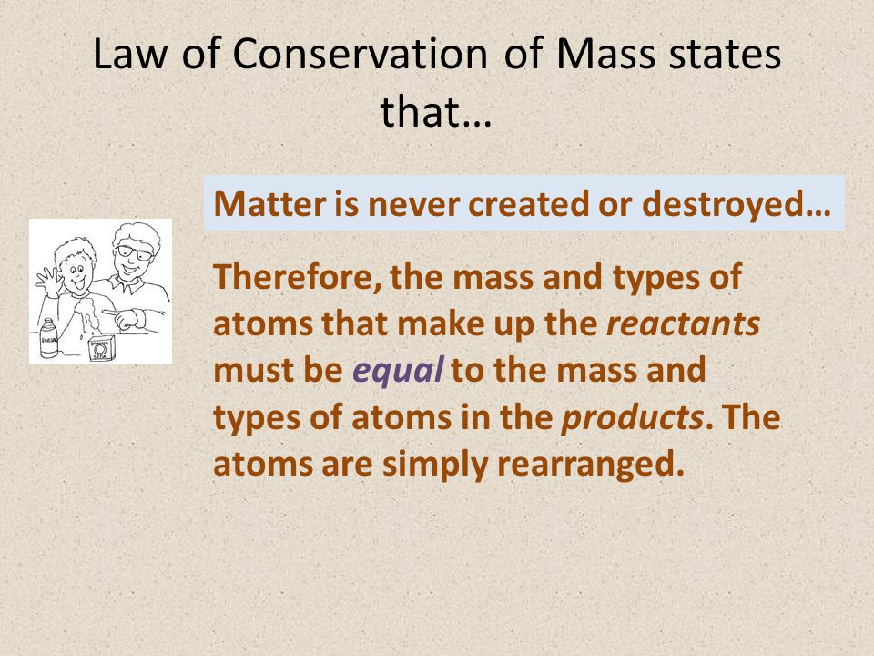 Law of Conservation of Mass states that…