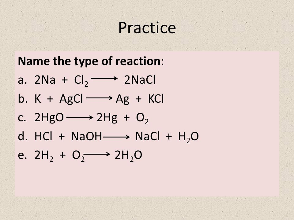 Practice Name the type of reaction: 2Na + Cl2 2NaCl K + AgCl Ag + KCl