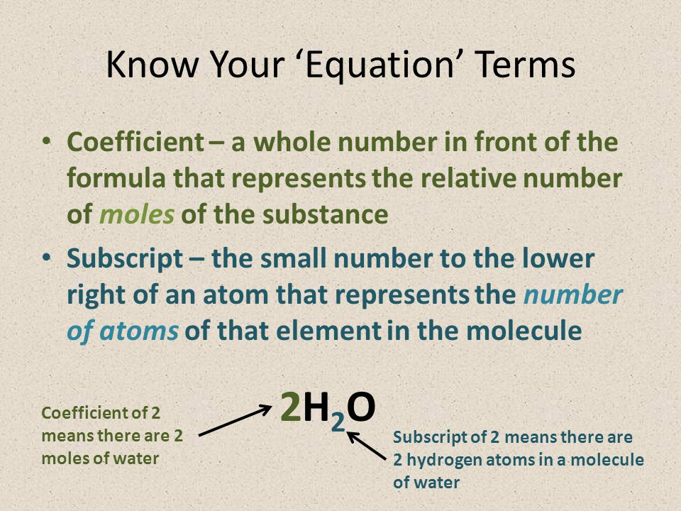 Know Your 'Equation' Terms