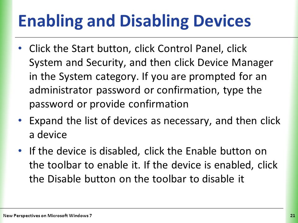 Enabling and Disabling Devices
