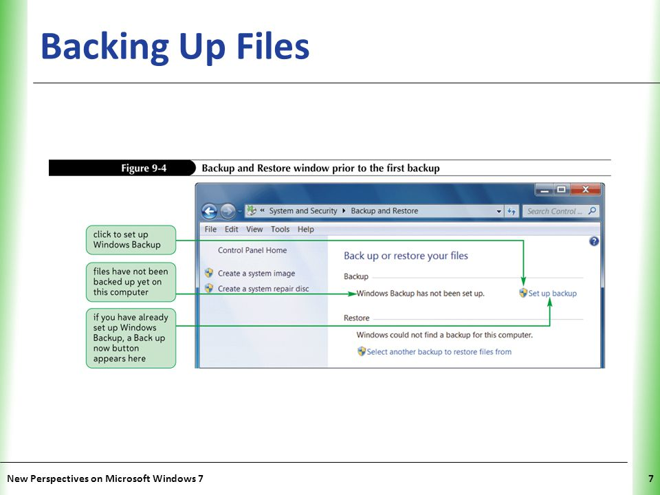 Backing Up Files New Perspectives on Microsoft Windows 7
