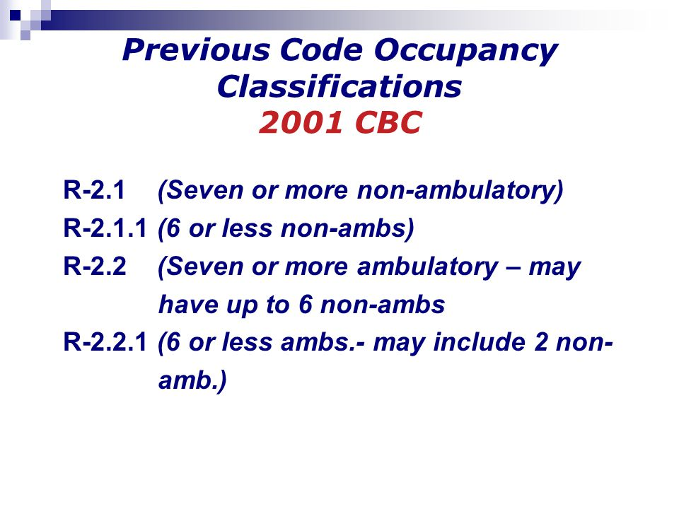 Previous Code Occupancy Classifications 2001 CBC