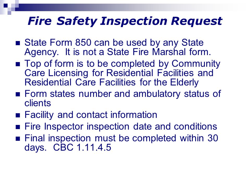 Fire Safety Inspection Request