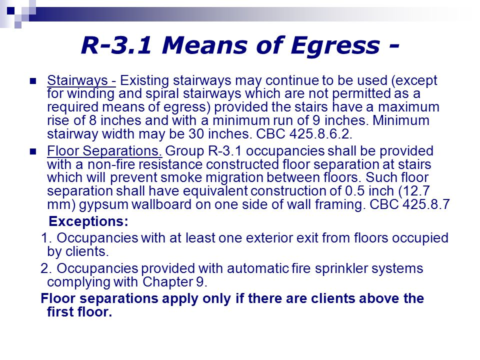 R-3.1 Means of Egress -