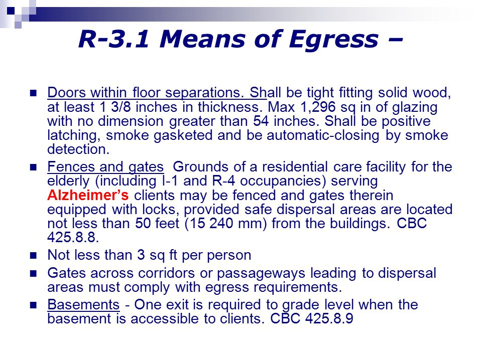R-3.1 Means of Egress –