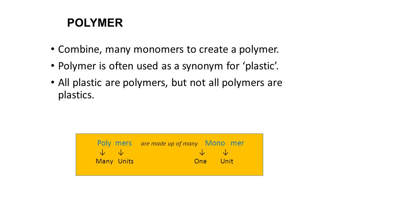 Combine, many monomers to create a polymer.