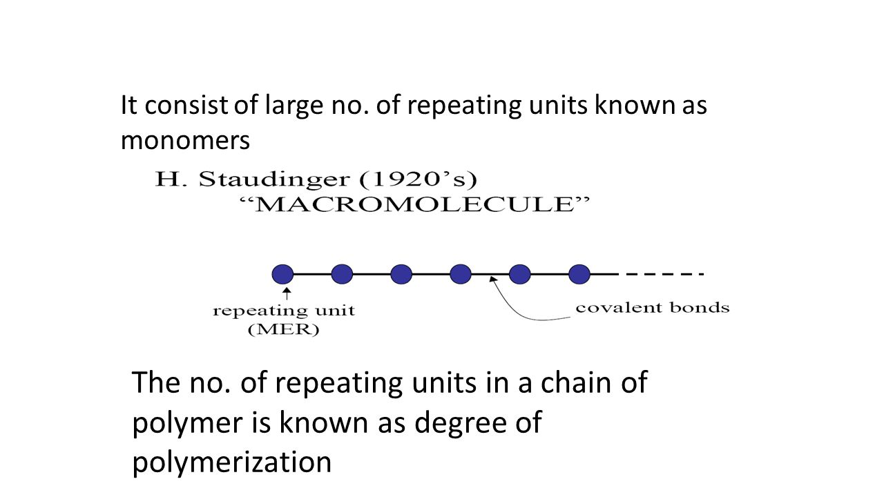 It consist of large no. of repeating units known as monomers