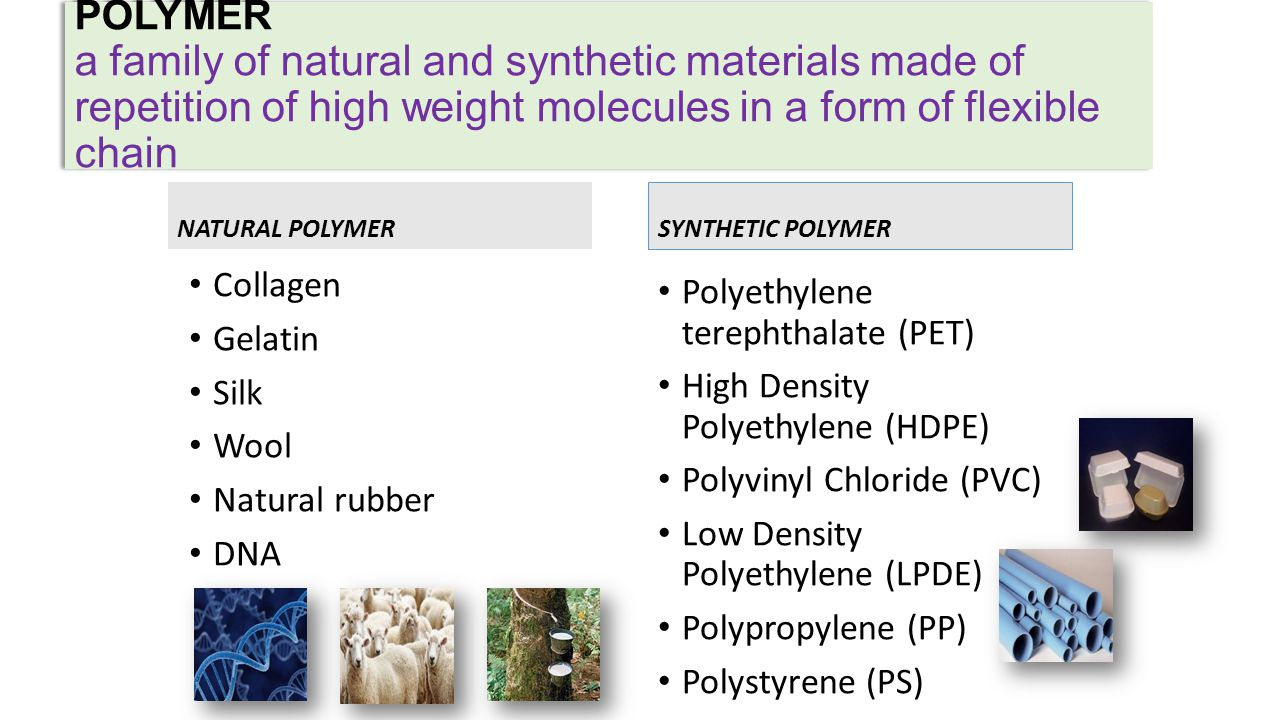 POLYMER a family of natural and synthetic materials made of repetition of high weight molecules in a form of flexible chain