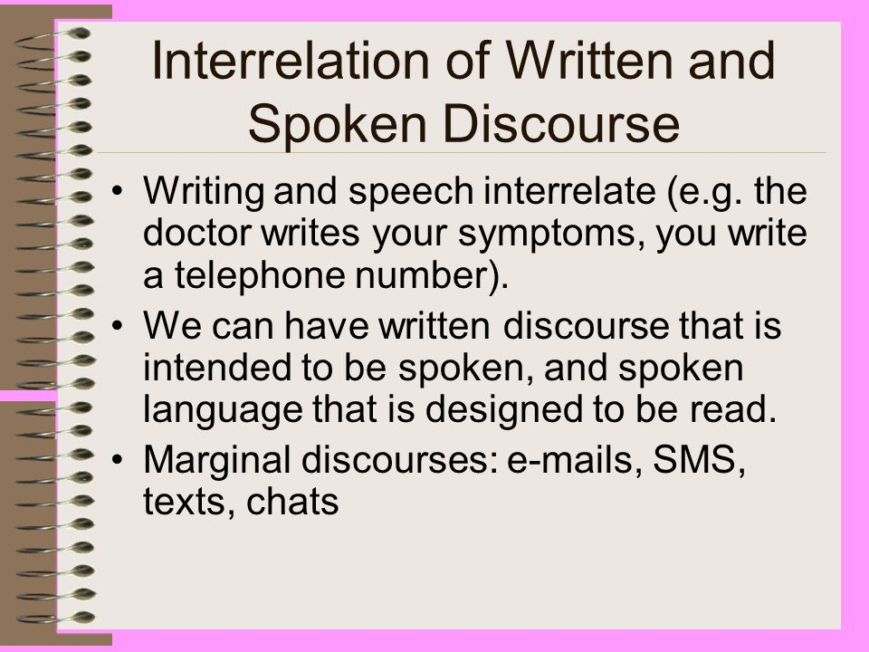 written and spoken discourse Spoken discourse is an interactive speech between two or more people, which is a broad-based language phenomenon in daily life.