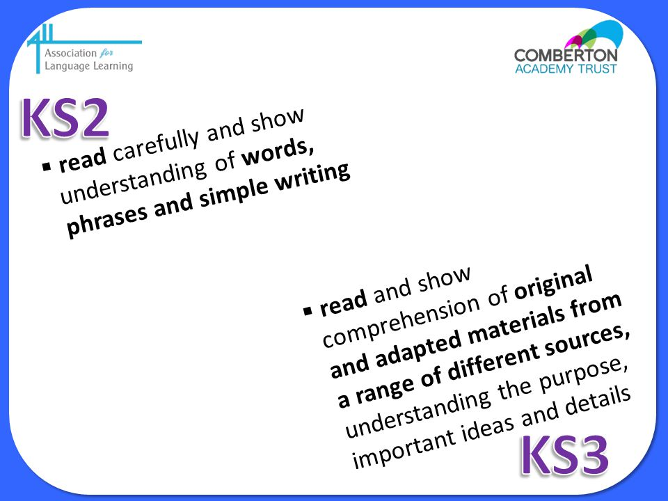 KS2 read carefully and show understanding of words, phrases and simple writing.