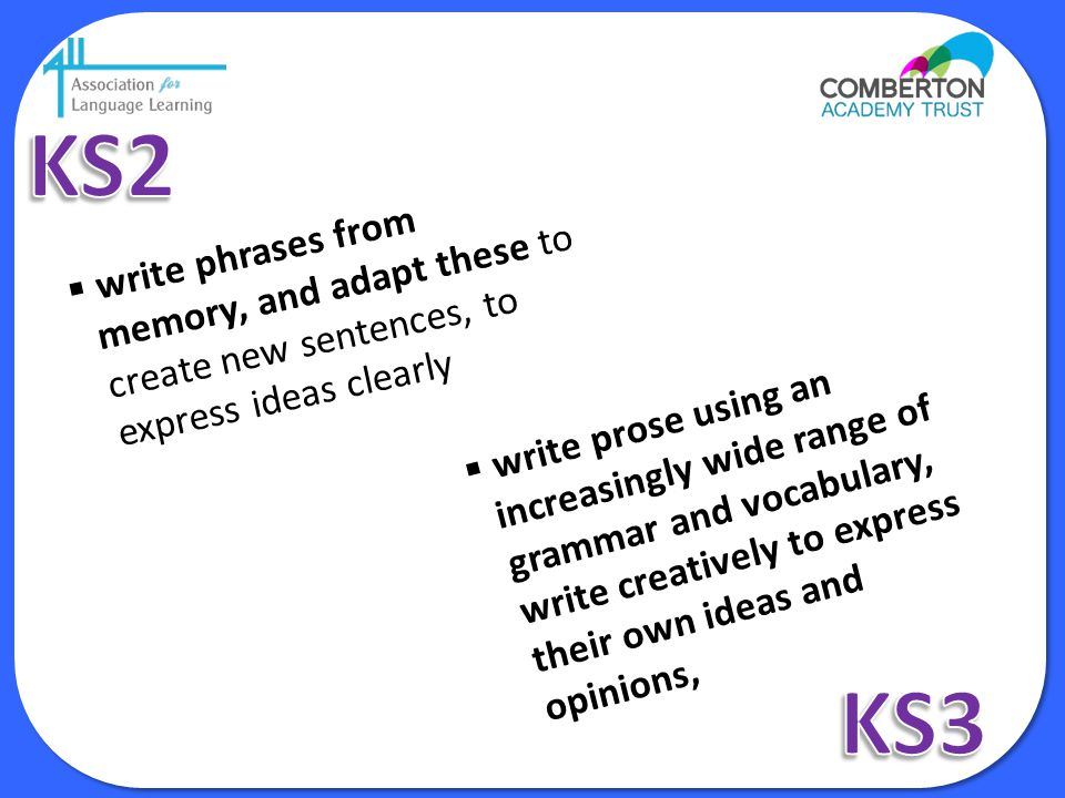 KS2 write phrases from memory, and adapt these to create new sentences, to express ideas clearly.