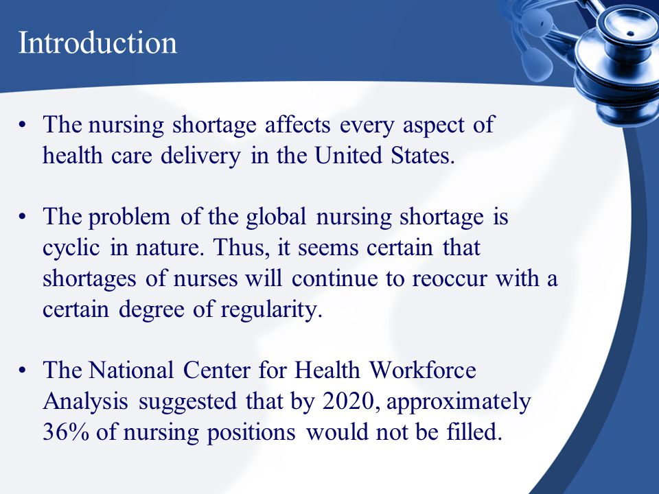 a issue of nursing shortage in united states Hospital nurse staffing and quality of the nursing shortage reflects fundamental by other professionals and by workers in general in the united states.