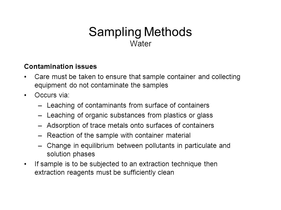 Surface water sampling methodology