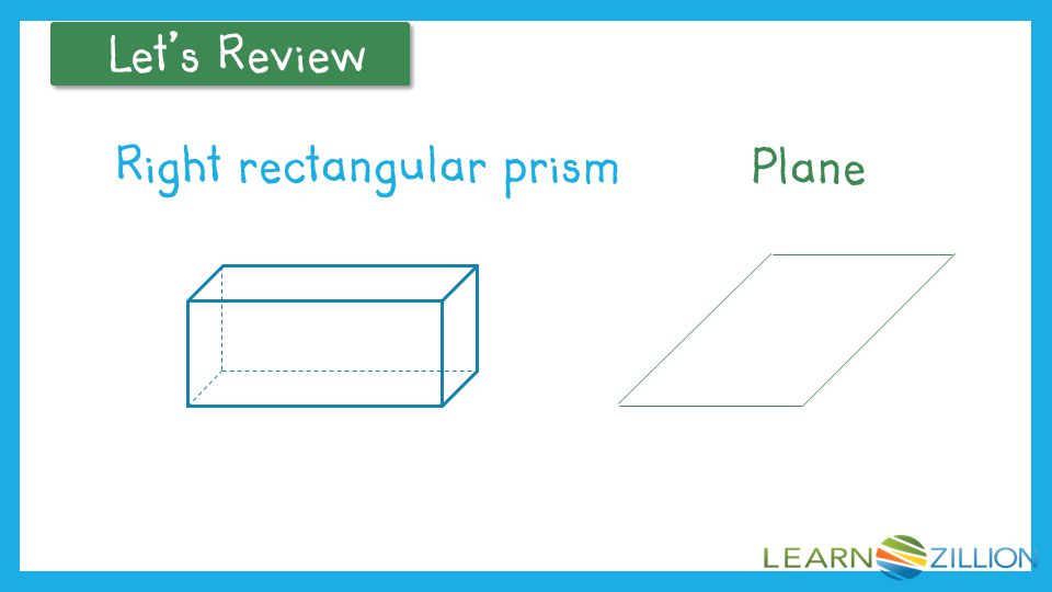 Let's Review Review geometric figures: right rectangular prism, plane. Coach's Commentary.