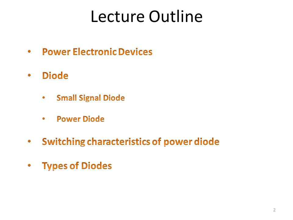 Lecture Outline Power Electronic Devices Diode
