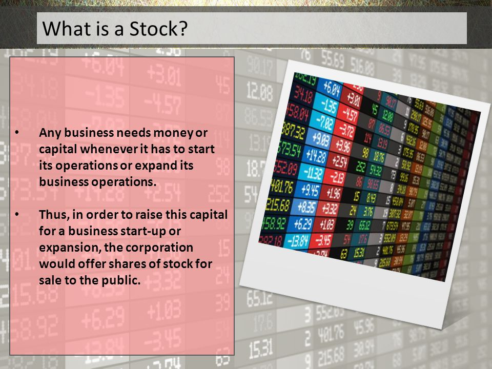 What is a Stock Any business needs money or capital whenever it has to start its operations or expand its business operations.