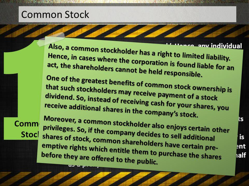 1 Common Stock Common Stock