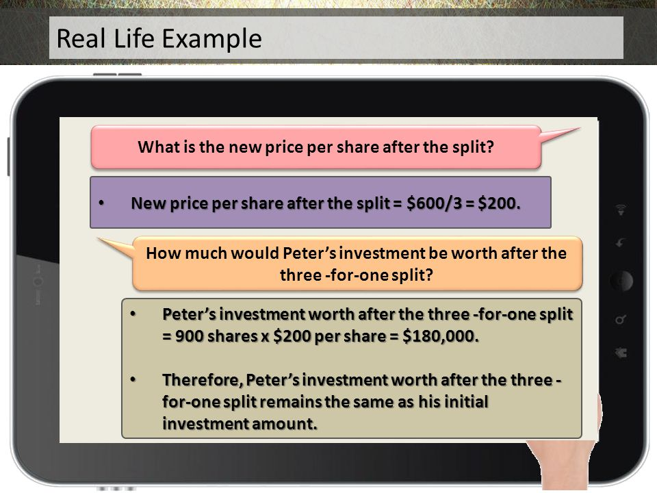 How much was Peter's investment before the split