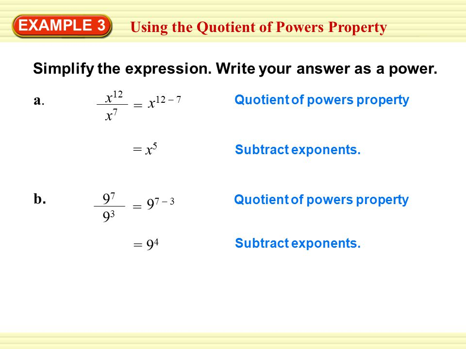 Using the Quotient of Powers Property - ppt download