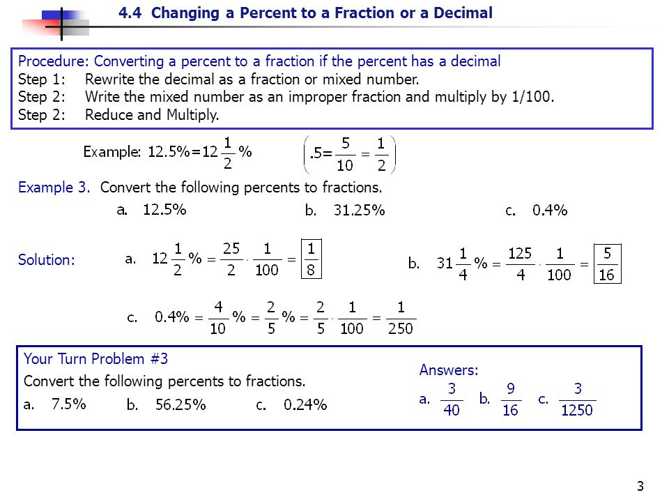 writing percents as fractions
