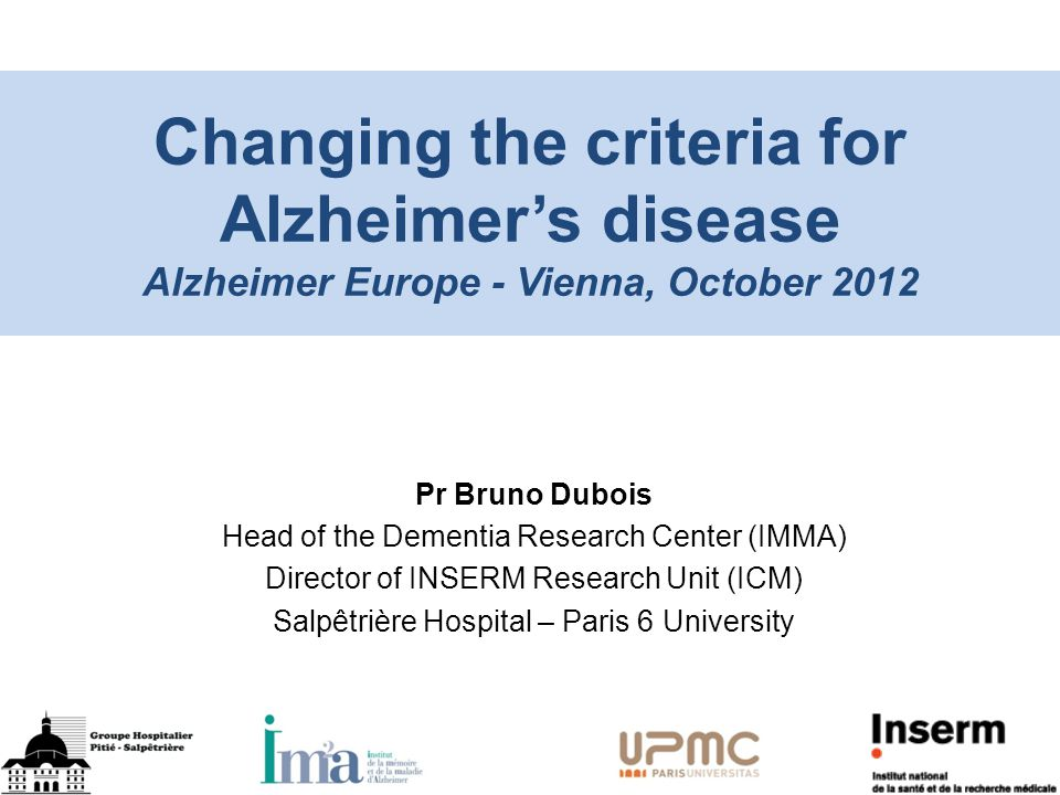 Pr Bruno Dubois Head of the Dementia Research Center (IMMA ...