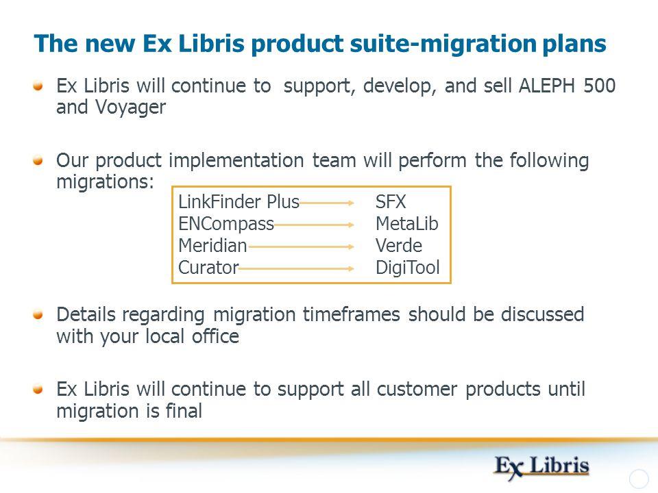 The new Ex Libris product suite-migration plans