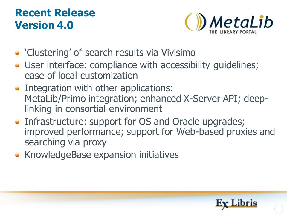 Recent Release Version 4.0