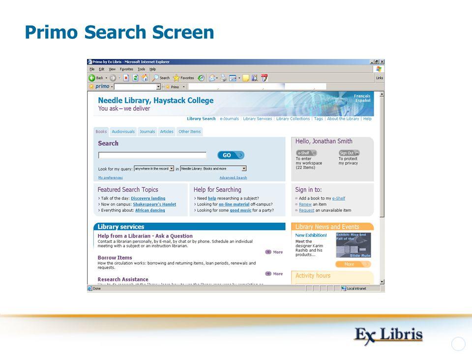 Primo Search Screen