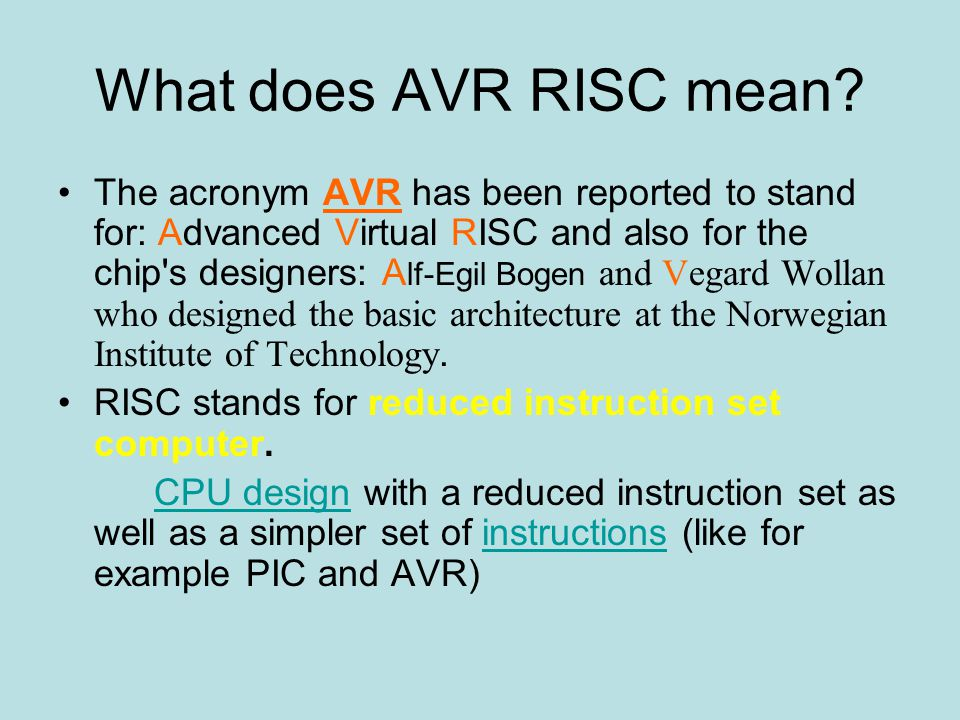 Atmel avr 8 bit risc microcontrollers ppt download for What does architecture mean