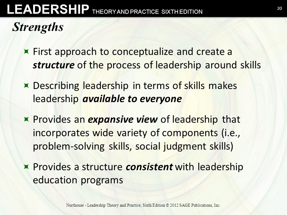Strengths First approach to conceptualize and create a structure of the process of leadership around skills.