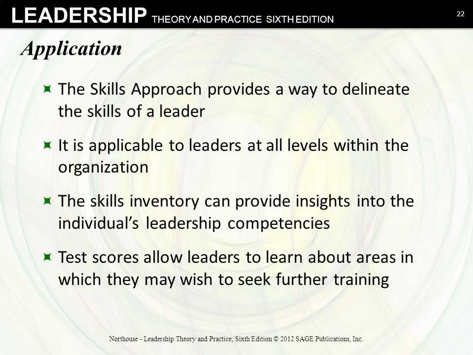 Application The Skills Approach provides a way to delineate the skills of a leader.