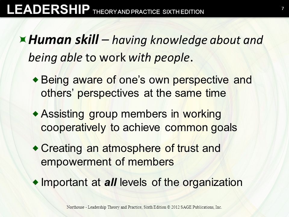 Human skill – having knowledge about and being able to work with people.