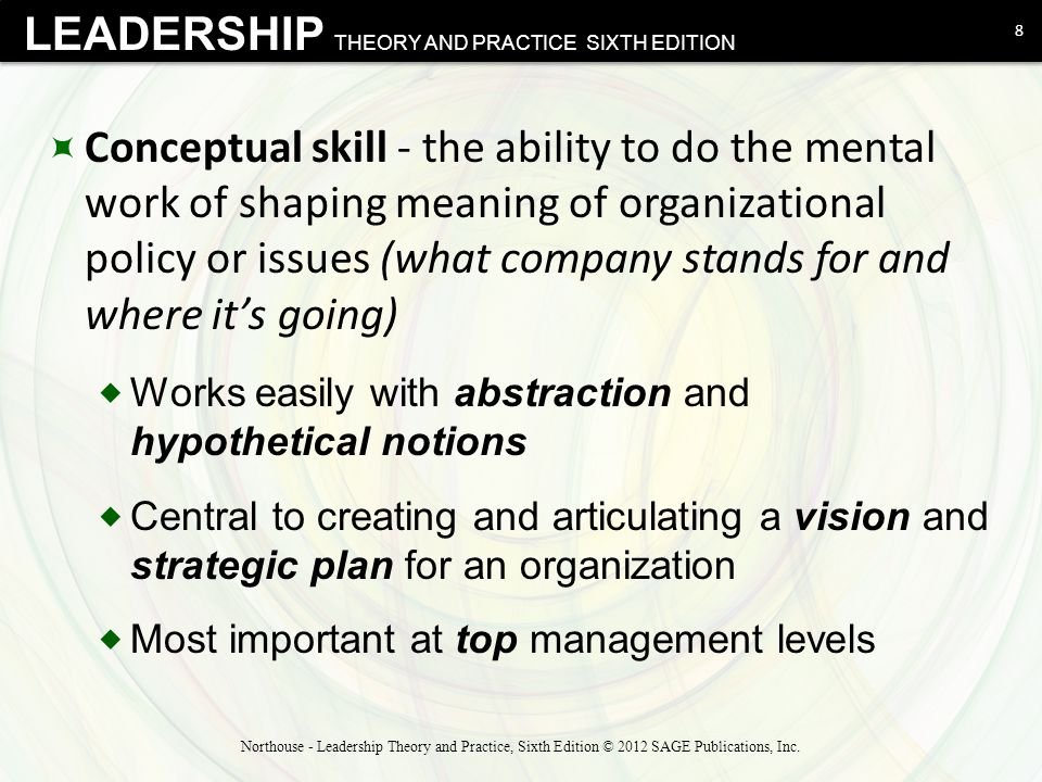 Conceptual skill - the ability to do the mental work of shaping meaning of organizational policy or issues (what company stands for and where it's going)