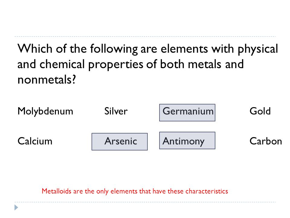 Which of the following are elements with physical and chemical properties of both metals and nonmetals