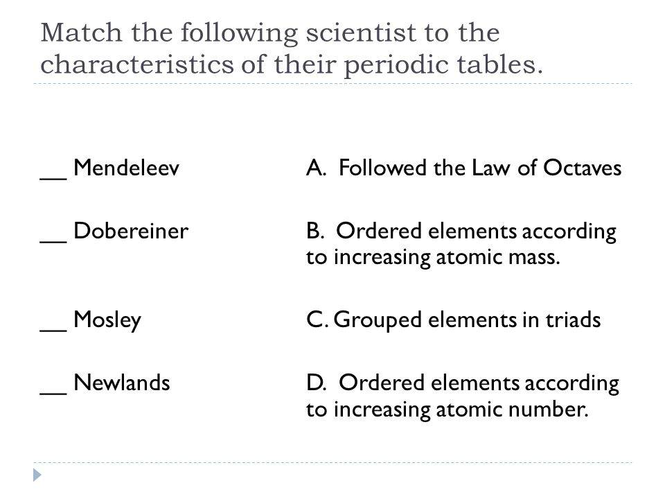 Match the following scientist to the characteristics of their periodic tables.