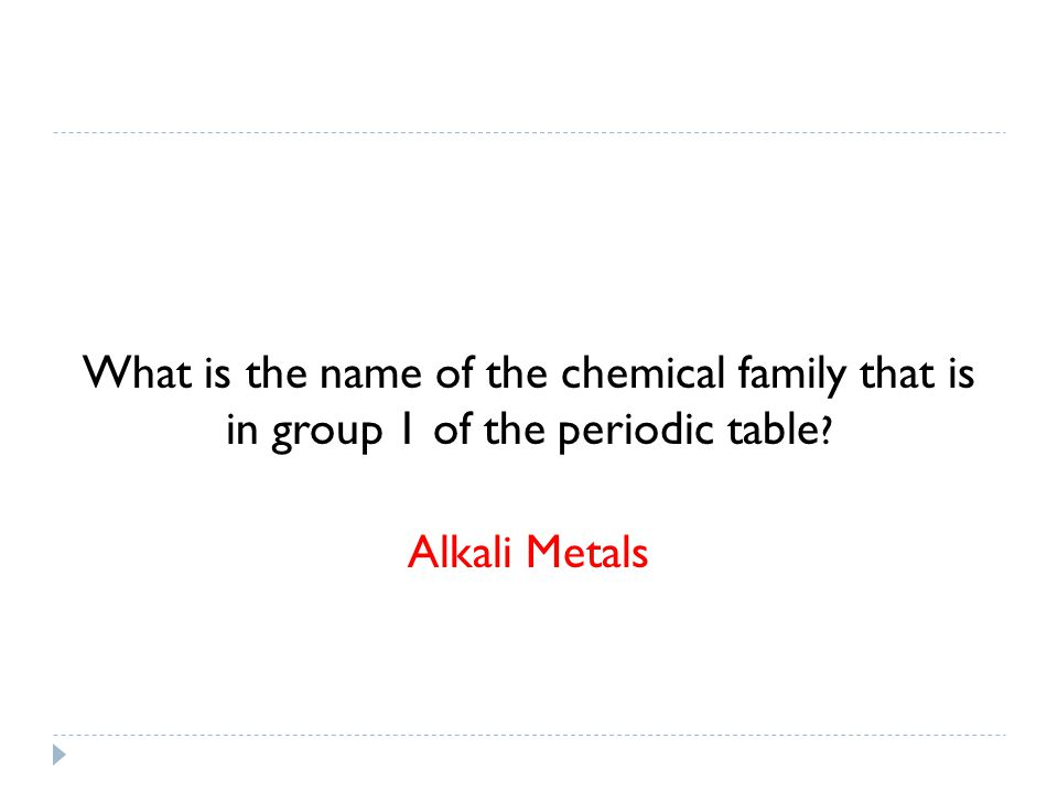 What is the name of the chemical family that is in group 1 of the periodic table