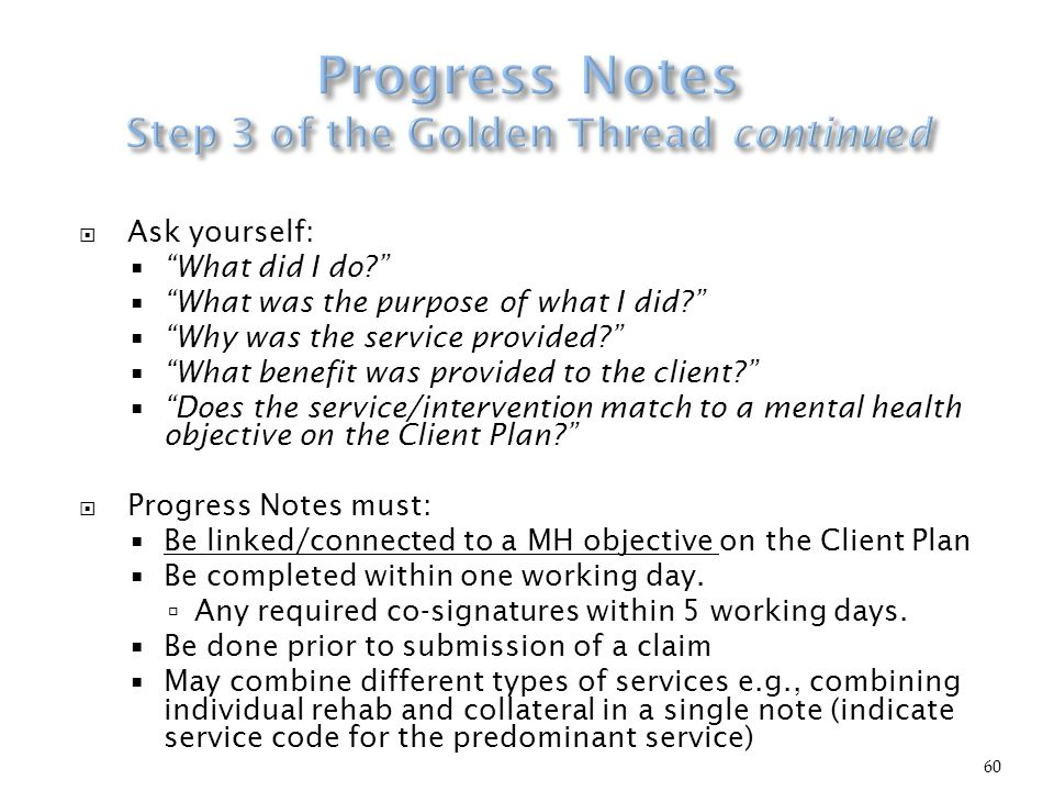 mental health progress notes