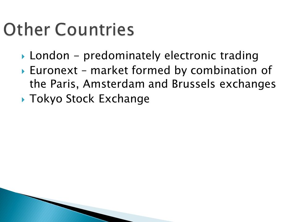 Other Countries London - predominately electronic trading