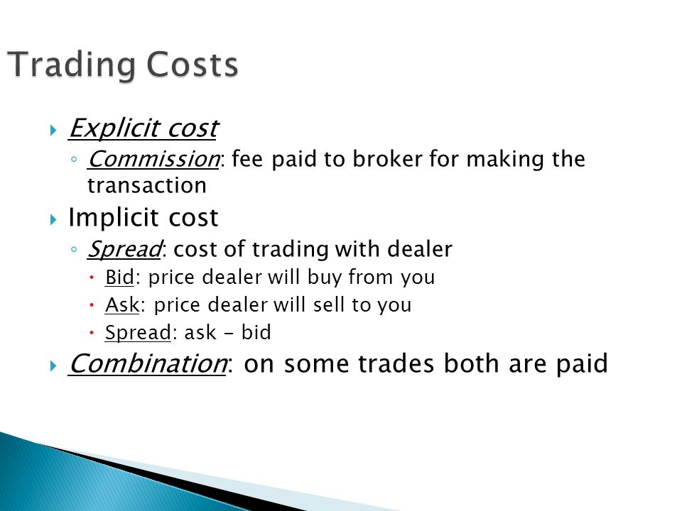 Trading Costs Explicit cost Implicit cost