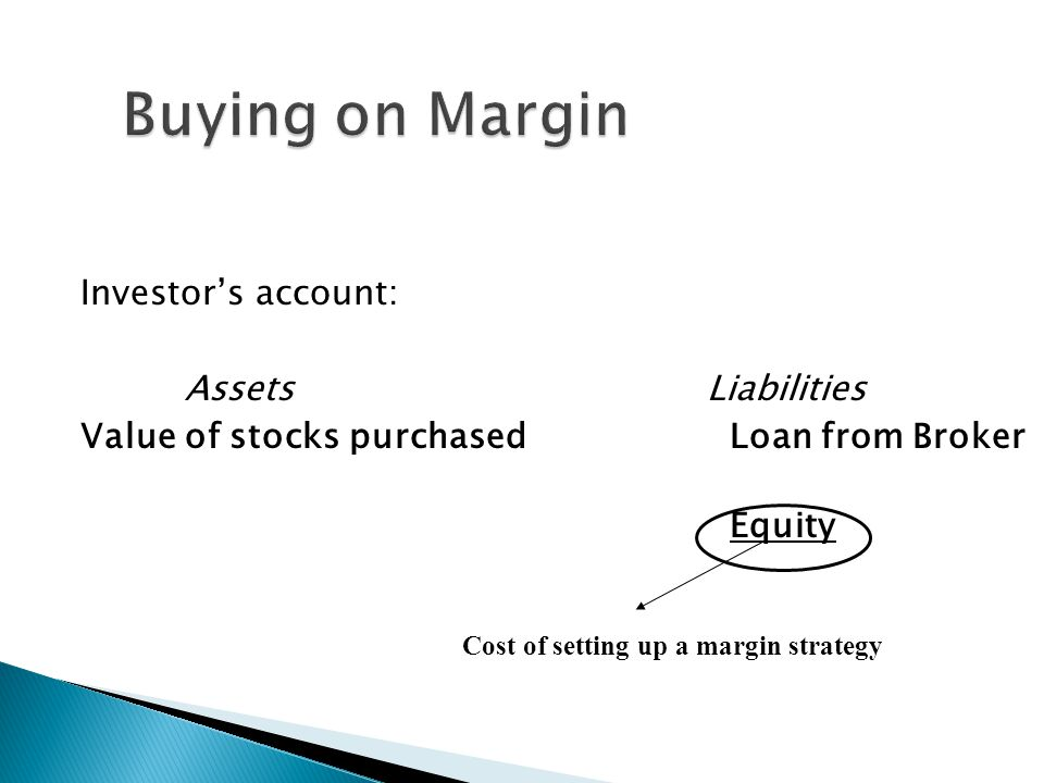 Buying on Margin Investor's account: Assets Liabilities Value of stocks purchased Loan from Broker Equity