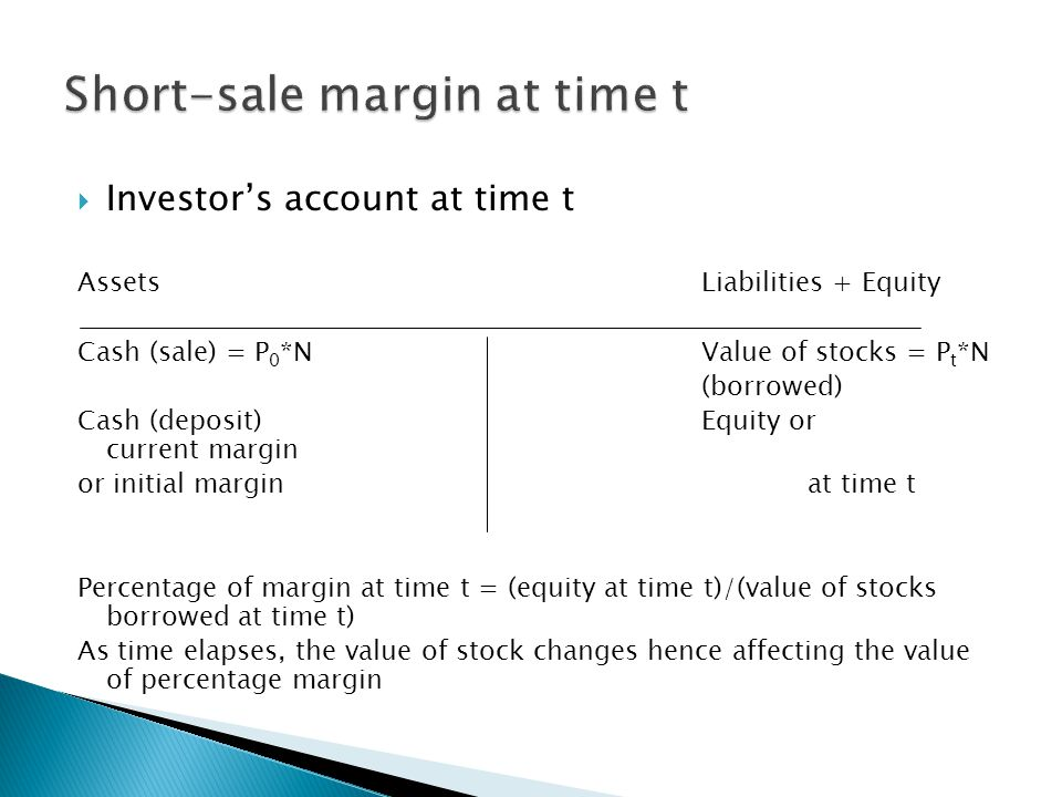 Short-sale margin at time t