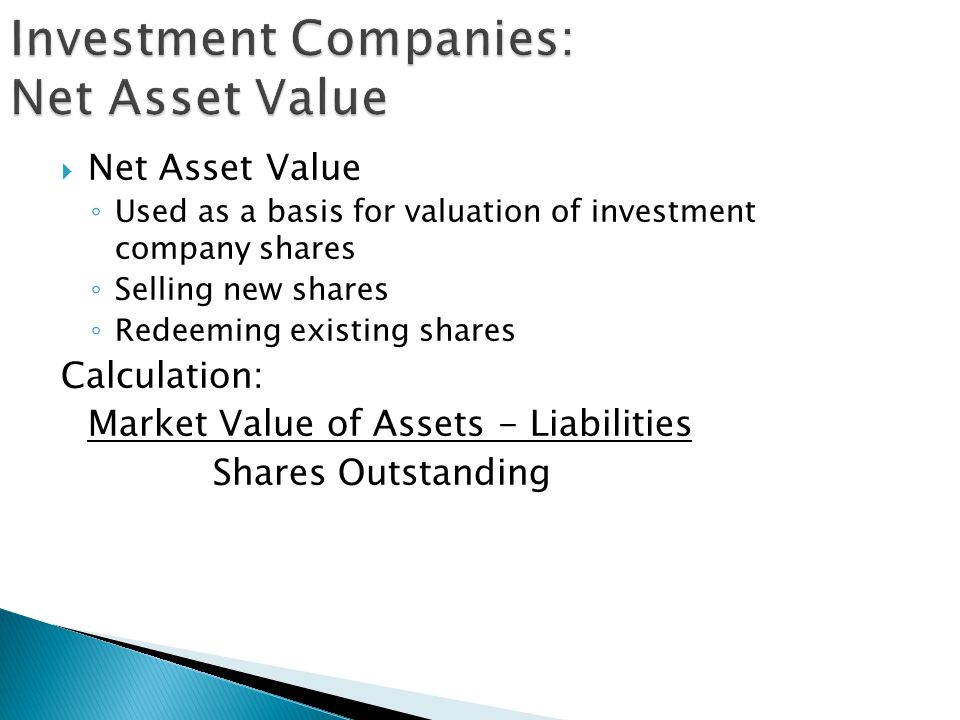 Investment Companies: Net Asset Value