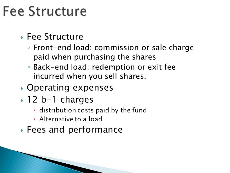 Fee Structure Fee Structure Operating expenses 12 b-1 charges