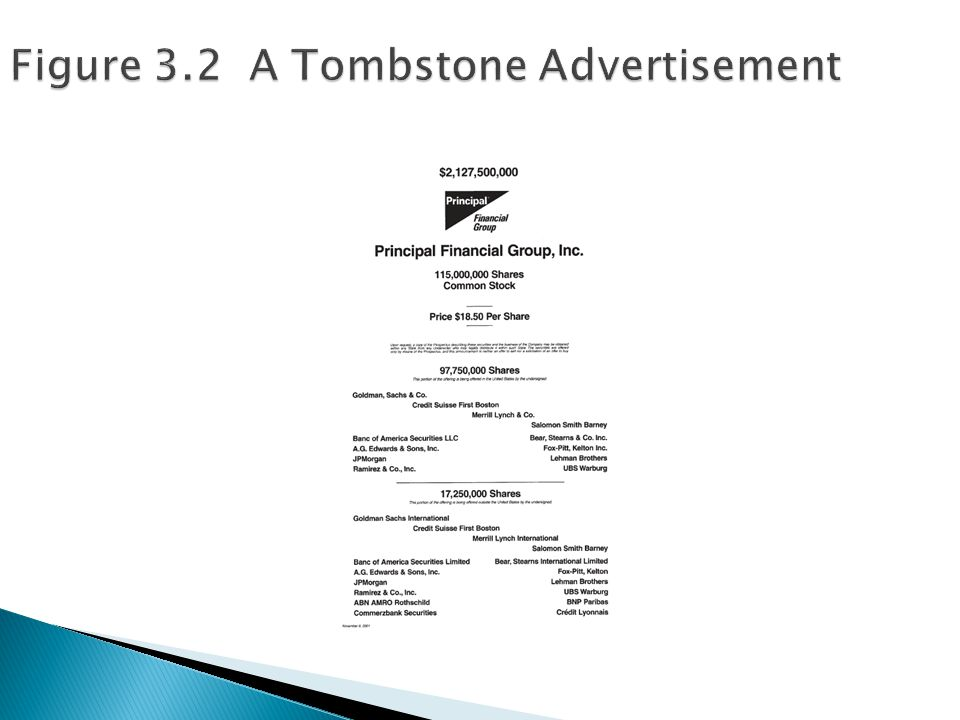 Figure 3.2 A Tombstone Advertisement